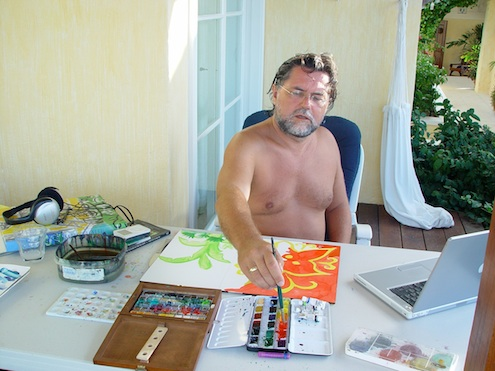 Stefan Szczesny working on Cactus Hill, Mustique