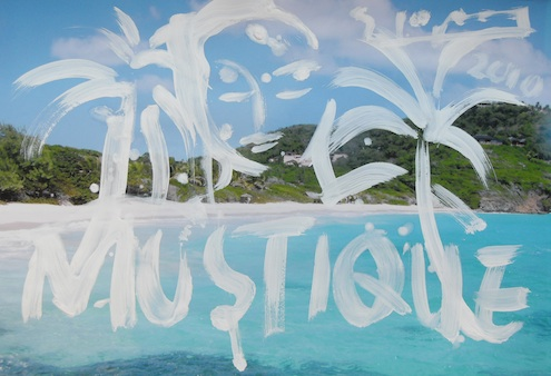 Szczesny painting on photography Mustique 27, 2010